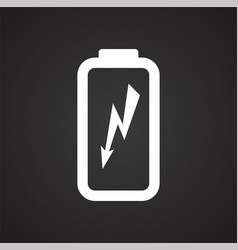 Drone battery charge icon on black background for vector