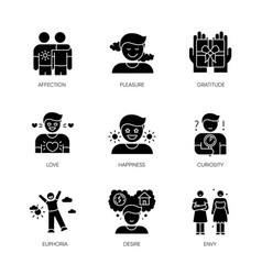 Feelings and emotions black glyph icons set on vector