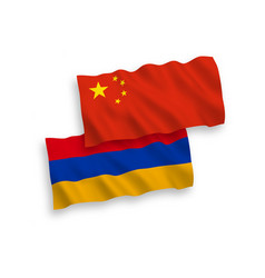 Flags armenia and china on a white background vector