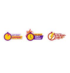 flash sale countdown badges vector image