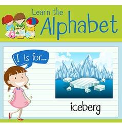 Flashcard letter I is for iceberg vector image