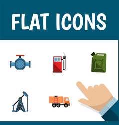 flat icon oil set of van rig flange and other vector image