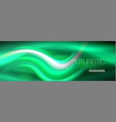 fluid color neon wave lines background neon vector image