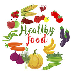 Fresh organic vegetables and fruits healty food vector