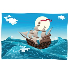 Galleon in the sea vector