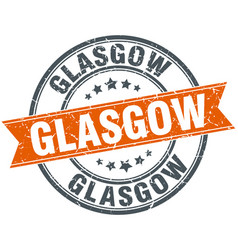 Glasgow red round grunge vintage ribbon stamp vector