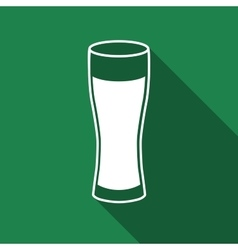 Glass of beer flat icon with long shadow vector image