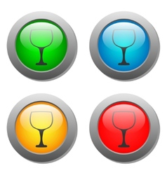Goblet icon glass button set vector image