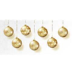 golden realistic christmas balls set vector image