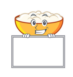 Grinning with board cottage cheese character vector