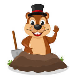 groundhog crawled out of the ground and waving his vector image