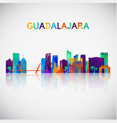 guadalajara skyline silhouette in colorful vector image