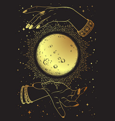 Hand drawn gold full moon with rays light vector