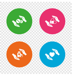 hands insurance icons health medical pills vector image