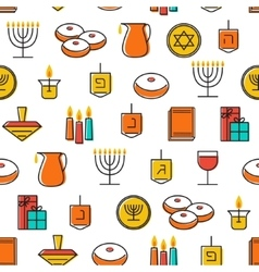 Hanukkah seamless pattern Hanukkah symbols vector