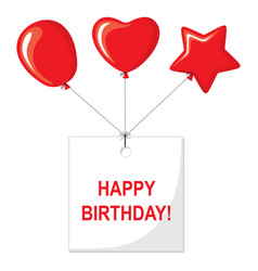 Happy birthday card with balloons and a greeting vector