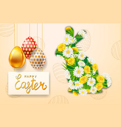 Happy easter rabbit from colorful spring flowers vector
