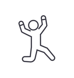 happy man jumping linear icon sign symbol vector image