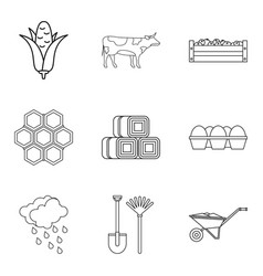 honeycombs icons set outline style vector image