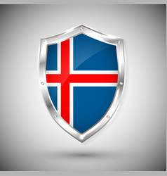 iceland flag on metal shiny shield collection of vector image