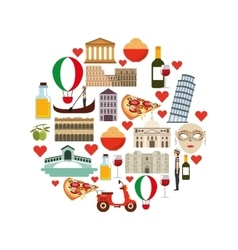 icon set Italy culture design graphic vector image