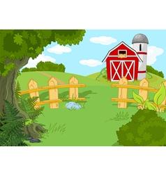 Idyllic farm landscape vector