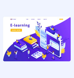 isometric landing page for education vector image