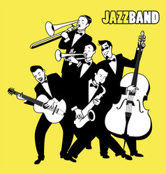 Jazz band five jazz players playing jazz music vector