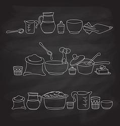 Kitchen utensils on the blackboard vector
