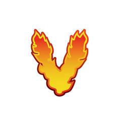 Letter v fire flames font lettering tattoo vector
