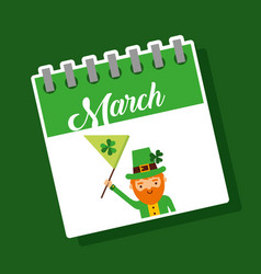 march calendar leprechaun with flag st patricks vector image