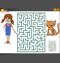 Maze game with cartoon girl and kitten vector