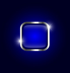 metallic frame with sparkle on blue gradient vector image
