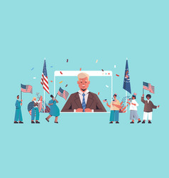 mix race people holding united states flags vector image