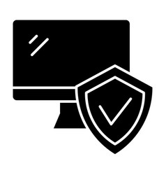 Monitor with approve checkmark in shield solid vector