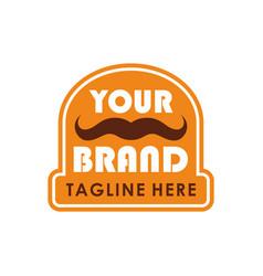 mustache emblem logo creative design concept vector image