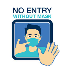 No entry without face mask prohibit door sticker vector