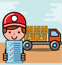 Operator boy truck boxes and checklist logistic vector