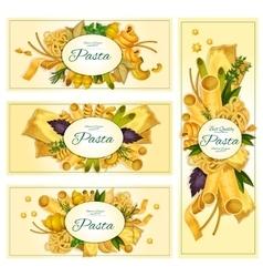 Pasta macaroni Italian cuisine banners set vector