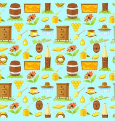 Pattern of cartoon elements of beekeeping vector