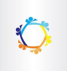 people in circle abstract icon design vector image