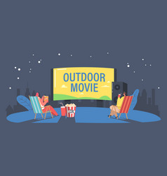 people with pop corn in open air cinema at house vector image