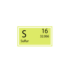 Periodic table element sulfur icon element of vector