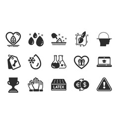 Pet tags award cup and chemistry lab icons set vector