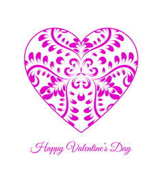 Pink fretwork floral heart happy vector