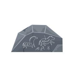 prehistoric rock engravings stone age symbol vector image