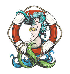Pretty mermaid with lifebuoy tattoo vector