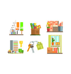 Real estate icons set people moving to a new home vector