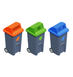 recycling garbage elements sorting and processing vector image