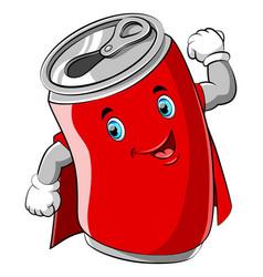 Red cartoon can wearing superhero costume vector